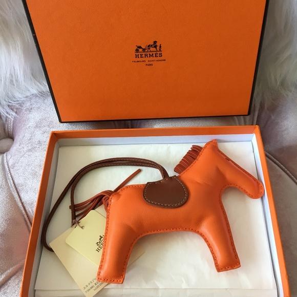 67e9b59a929 HERMES Orange Rodeo Horse Bag Charm Feu Cornaline